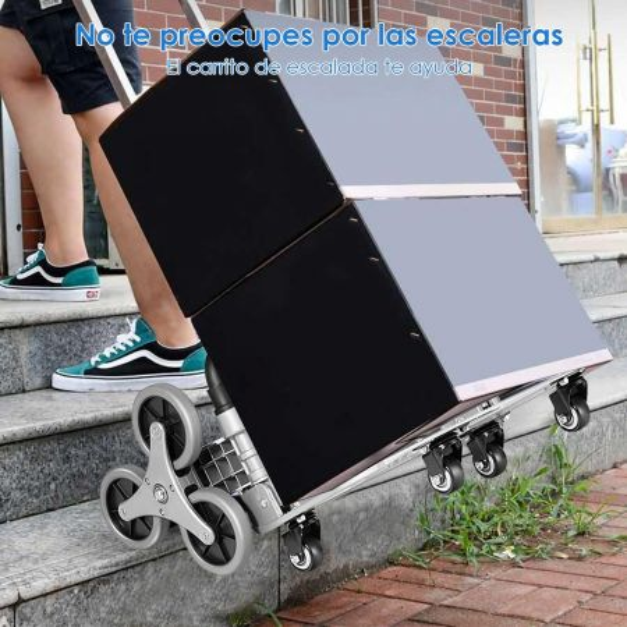 Costway Carro de Carga Plegable con Correa Elástica y Empuñadura Telescópica Regulable en 3 Posiciones para Mudanza Compra Viajes