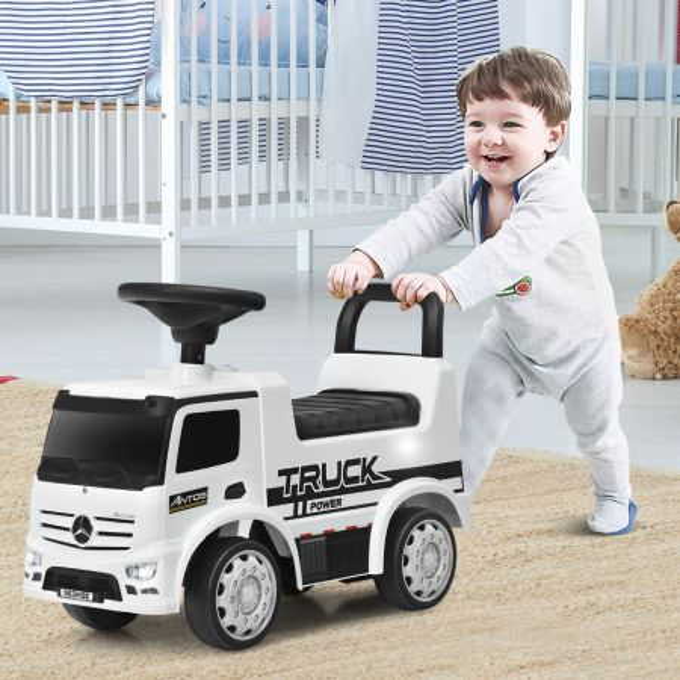 Costway Coche Montable y de Empuje para Niños 12-36 Meses Mercedez Benz con Bocina Faros Asiento con Alamacenamiento Juguetes Blanco