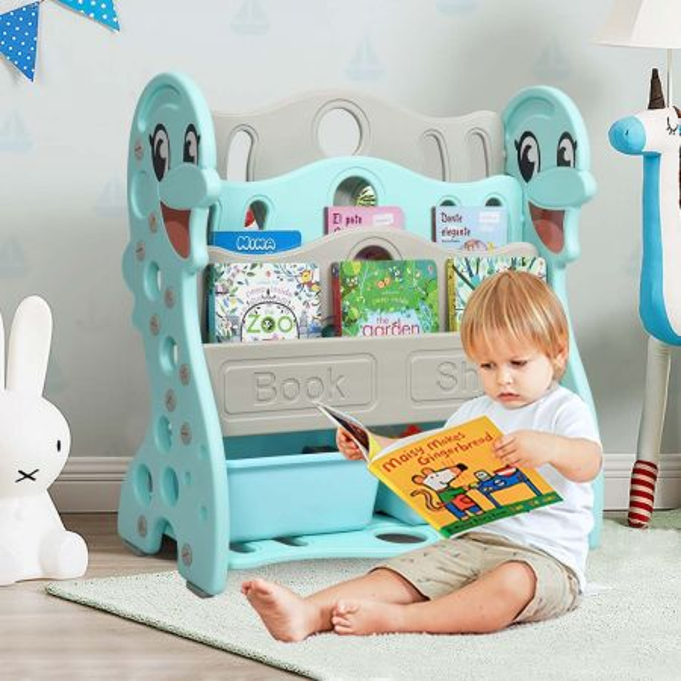 Costway Librería para Niños  Diseñado con Delfín con 4 Repisas y 2 Cajas en Estructura Triangular Estable Verde 68,5 x 64,5 x 30,5 cm