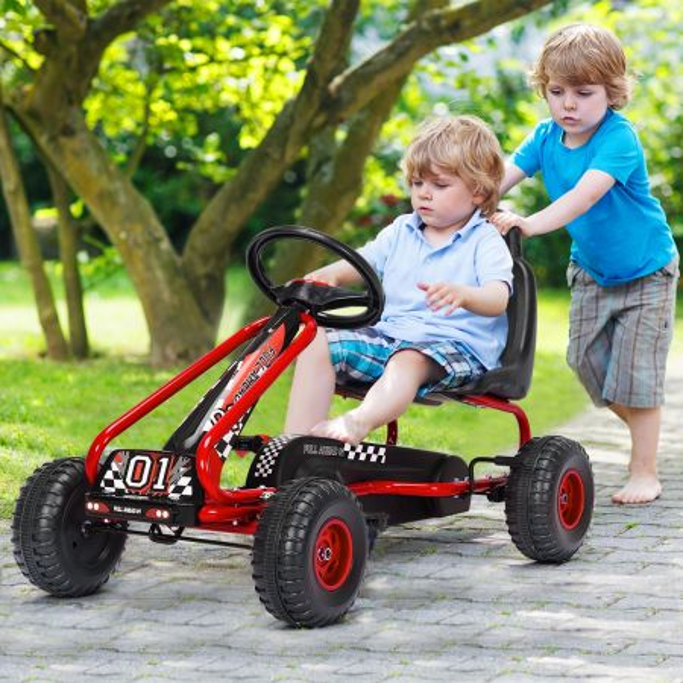 Costway Go kart de Pedales para Niños con 4 Ruedas Antideslizantes Asiento Envolvente y Freno de Mano Rojo 92 x 50 x 53 cm