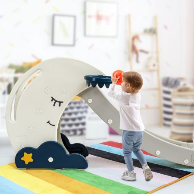 Costway Tobogán Plegable para Niños con Forma de Luna con Escaleras y Canasta de Baloncesto Estable y Seguro Blanco y Azul 180 x 43 x 83 cm
