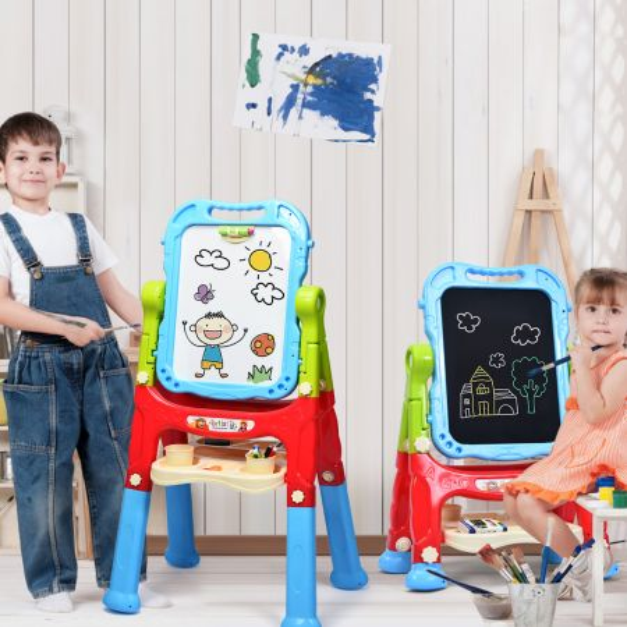 Costway Caballete Artístico para Niños Pizarra Negra y Blanca Mesa de Dibujo Regulable y Giratorio 360° Set Magnético Portátil para Dibujar Azul